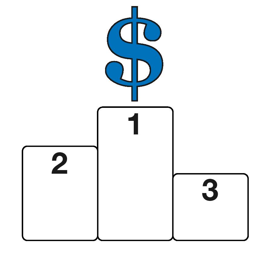 Dollar sign on winner's podium
