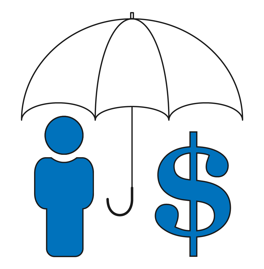 Stick figure with dollar sign under an umbrella
