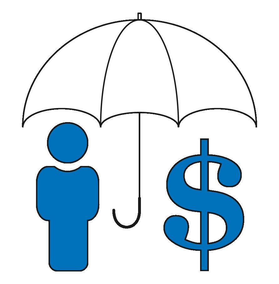 Stick figure with dollar sign under an umbrella