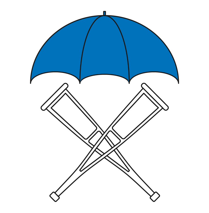 Crutches under an umbrella