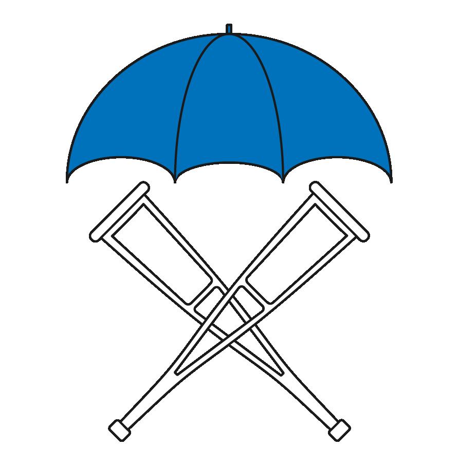 Crutches under an umbrella