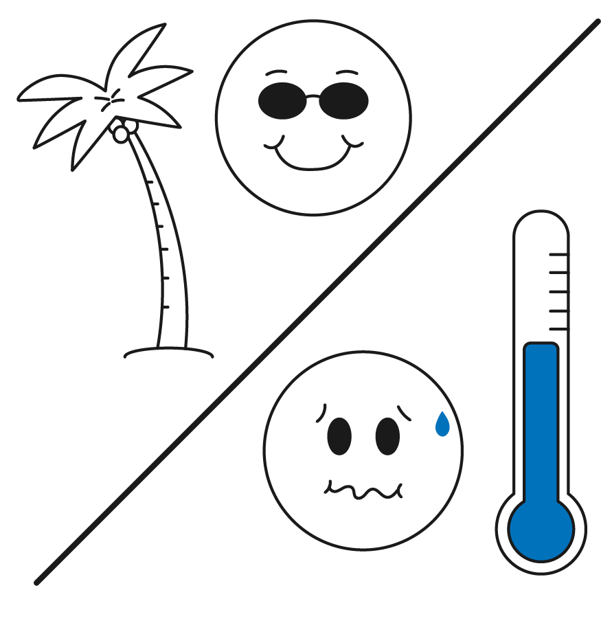Palm tree with smiley face and thermometer with sick face