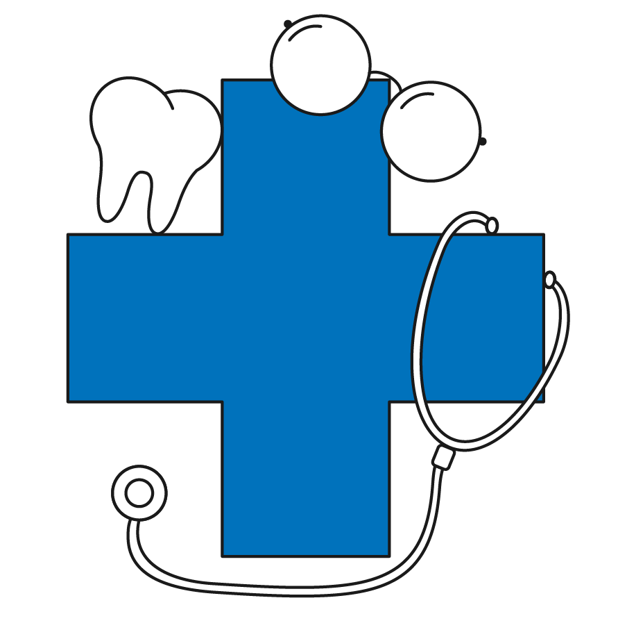 Healthcare cross with tooth, eye glasses, and stethoscope