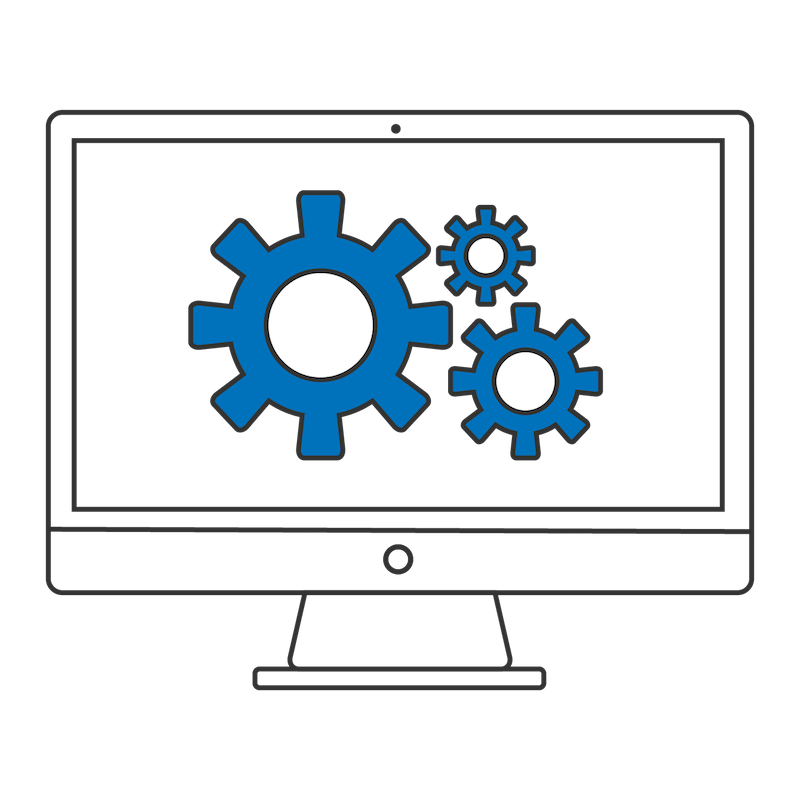 Computer with gears on the screen to indicate custom software development