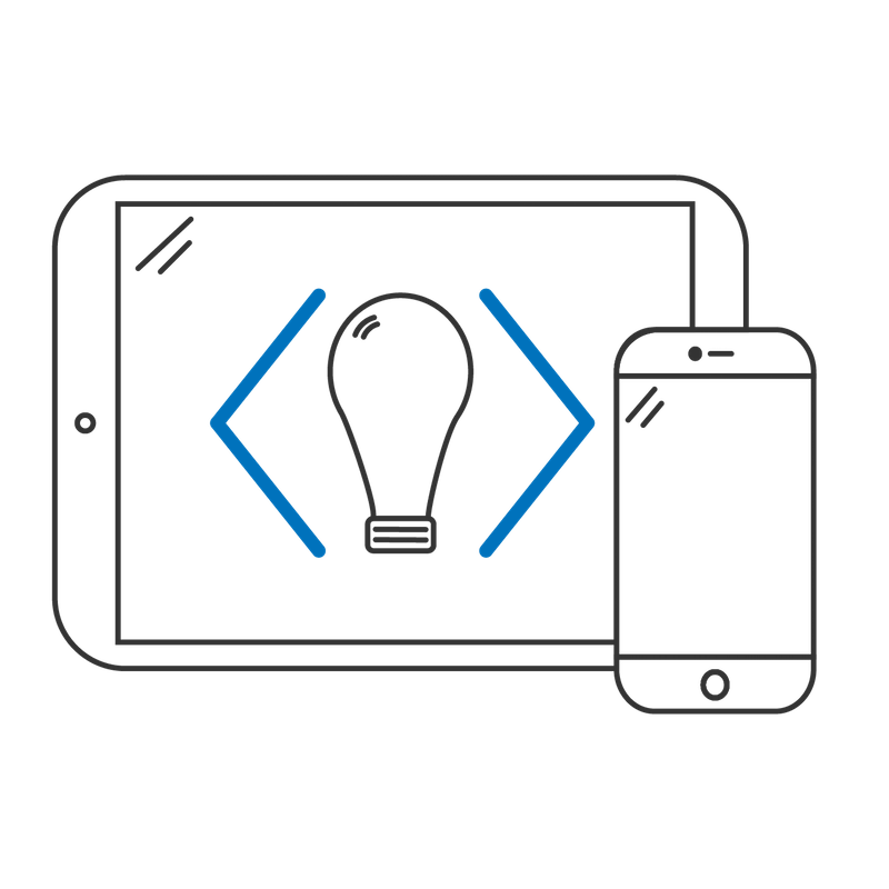 Mobile devices with a lightbulb on screen to indicate mobile app development