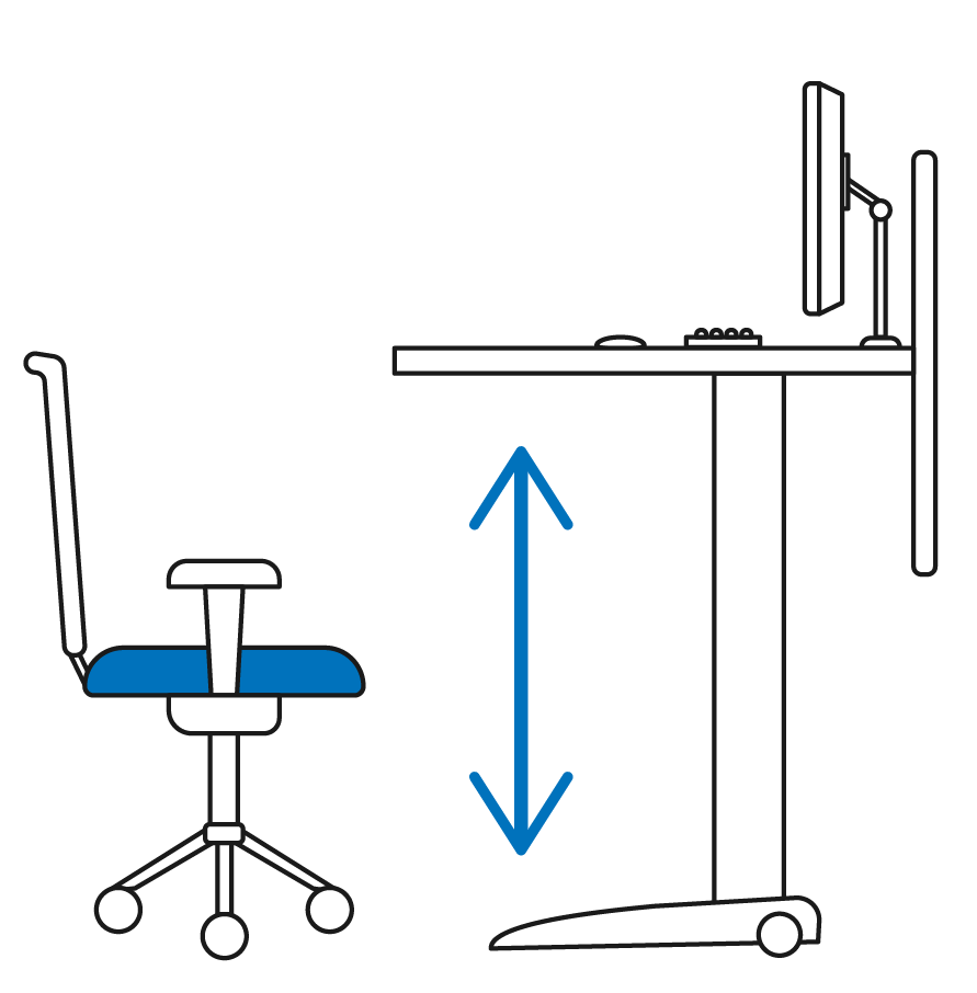 Office chair and adjustable desk