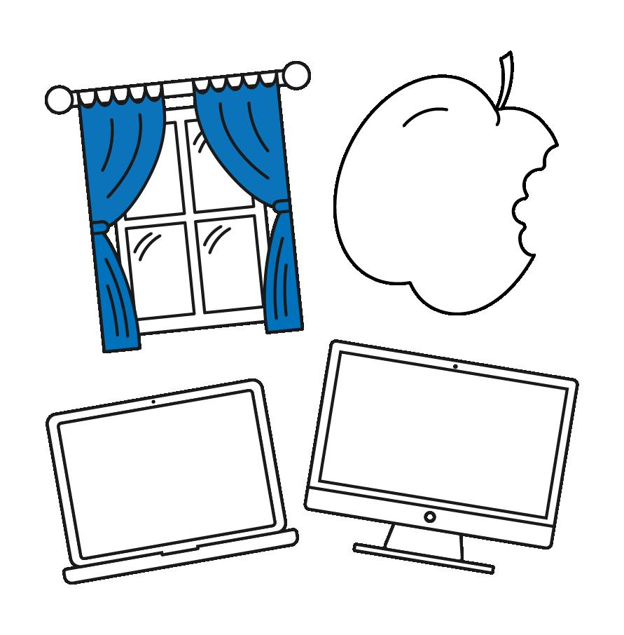 Desktop, laptop, window, and apple