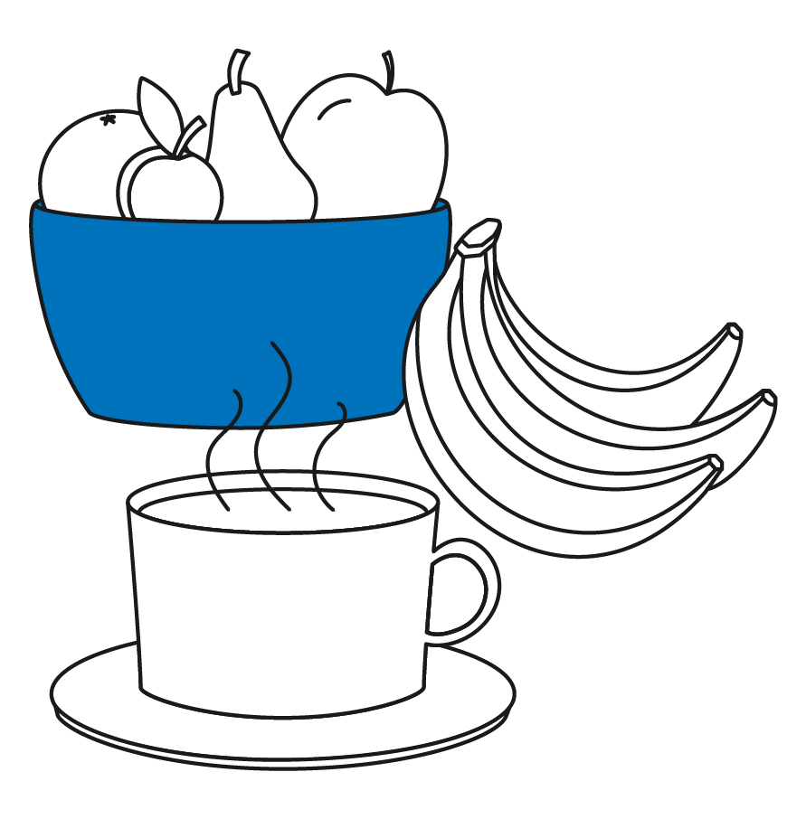 Bananas, bowl of fruit, and cup of coffee