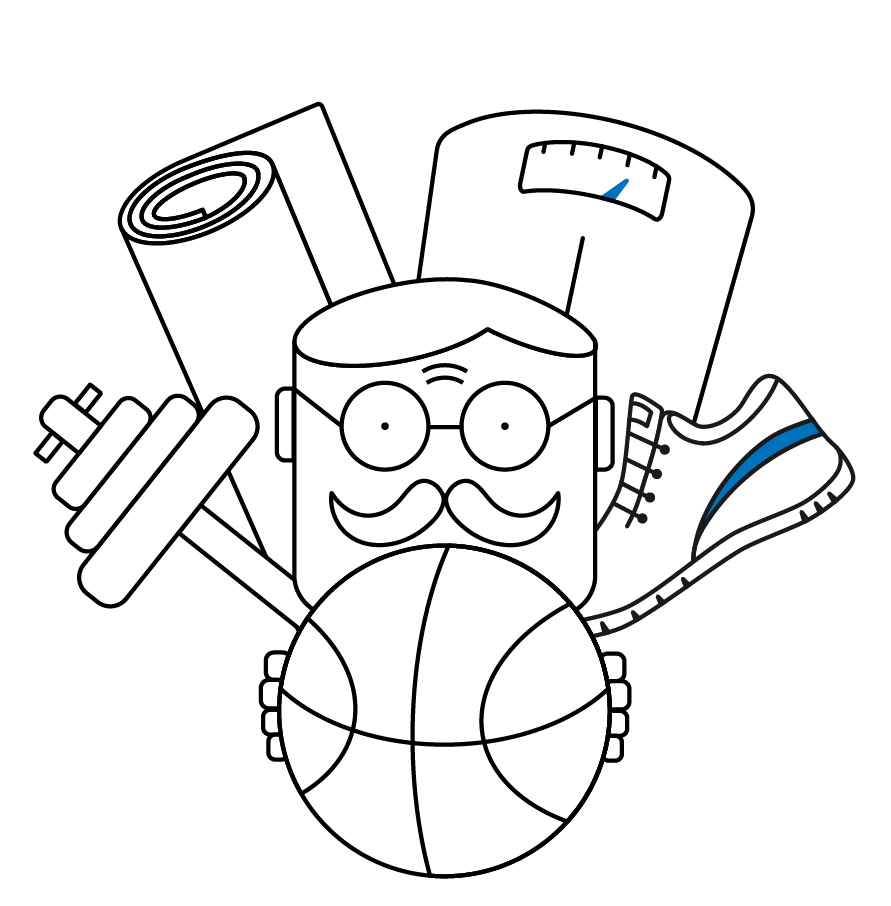 Man holding basketball with a running shoe, scale, yoga mat, and weight.