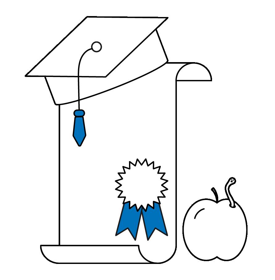 Graduation cap, certificate, and apple