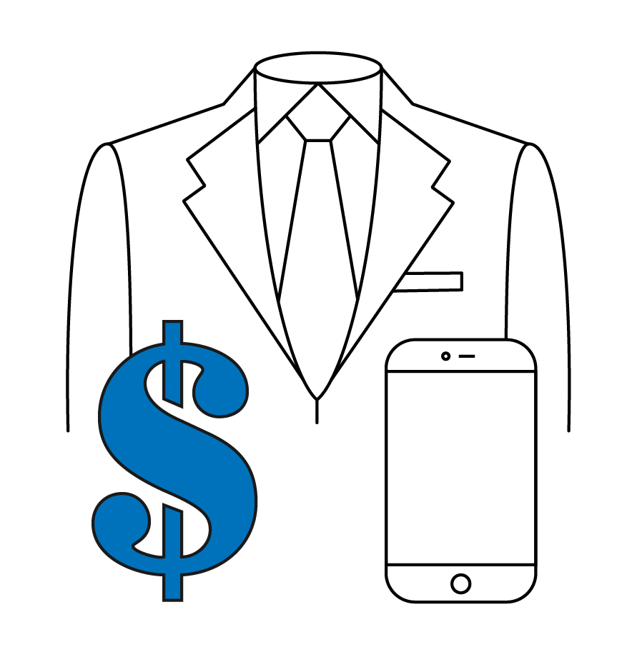 Business suit, cell phone, and dollar sign