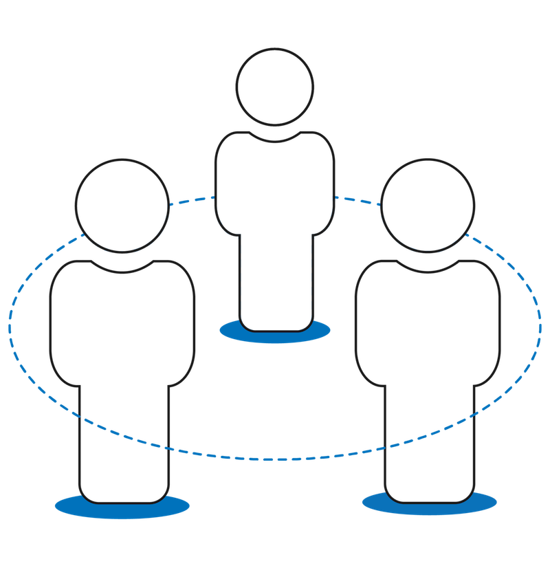 Three people together inside a circle