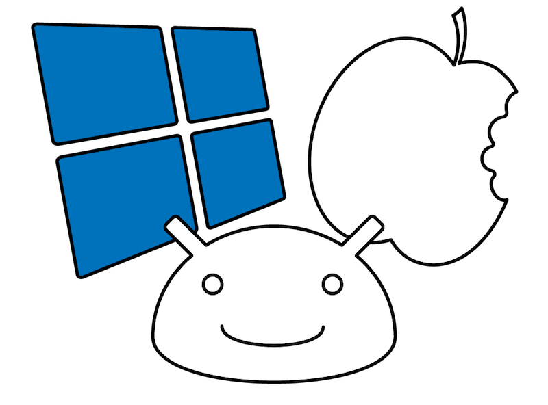 Mobile app development platform icons for Windows, Android and iOS