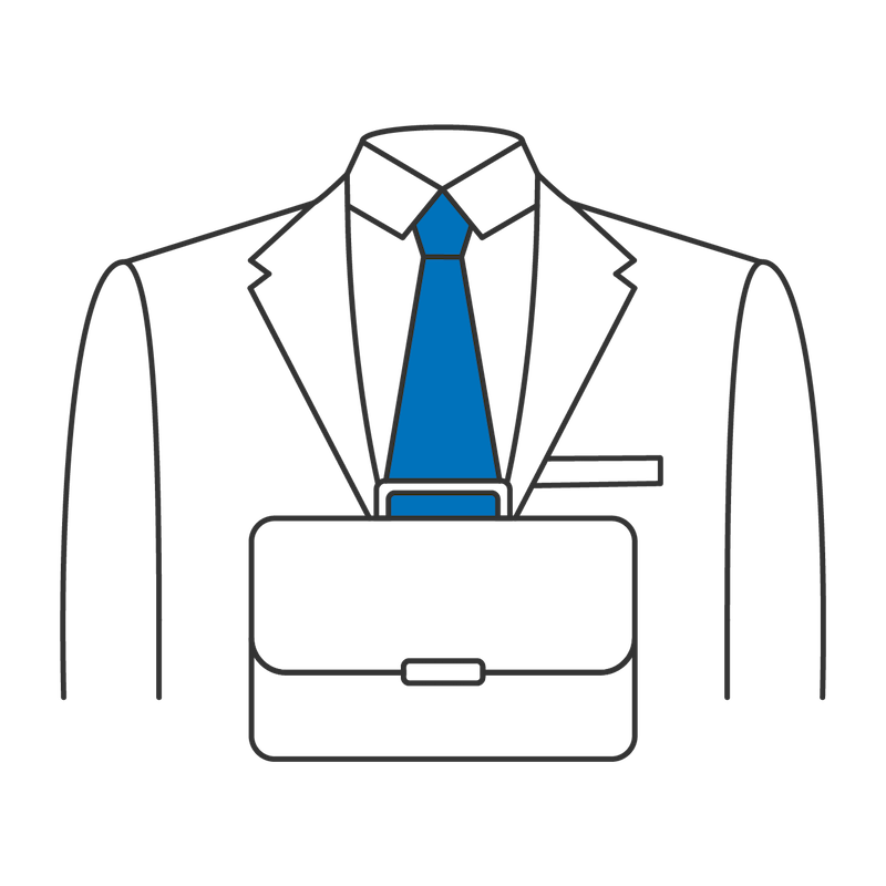 Business suit and briefcase as a symbol for consulting and professional services