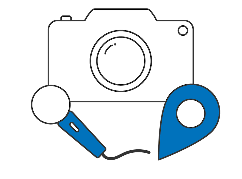 Mobile app features that include camera, microphone, and GPS location pin